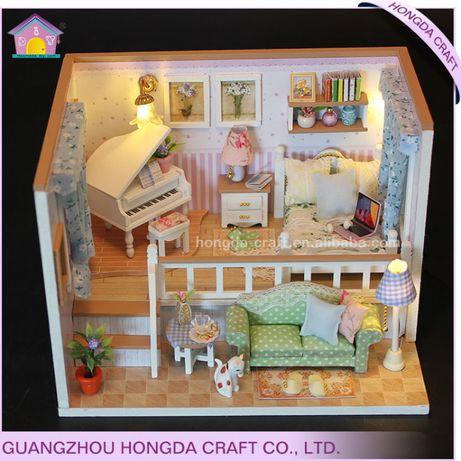 Casa de papusi cu accesori pt decorare Diorama din lemn 3D luminata