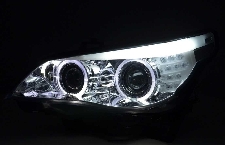 Set faruri Angel Eyes LED BMW Seria 5 E60/ E61 (03-07) XENON OEM d1s