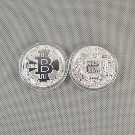 Moneda BITCOIN argintiu 2018 diametru 38mm