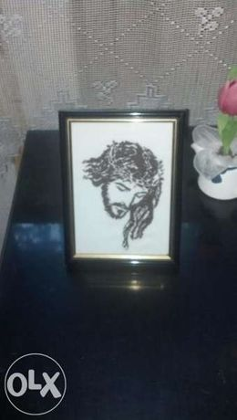гоблен икона на исус христос в прекрасна класна рамка