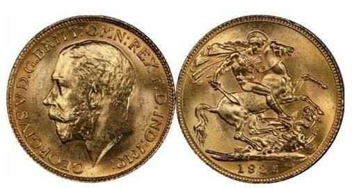 5 Monede din Aur,-SOVEREIGN, de 22k, 7,99gr, anii 1908,11,13,14,1930