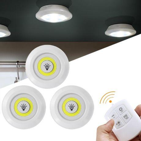 Безжични ЛЕД лампи с дистанционно и различни степени - комплект 3бр.