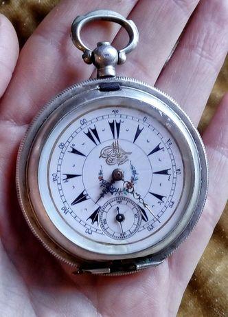 Стар сребърен Османски джобен часовник Dent London с ключе