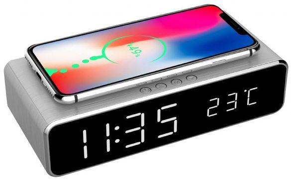 Часовник/ термометър с функция за зареждане на смартфони MAXXTER