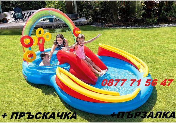 Детски надуваем басейн с пързалка и пръскалка INTEX 297х193х135см