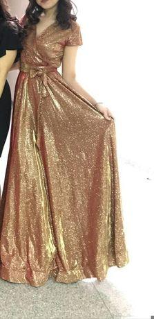 Срочно Продам блестящие золотистое платье