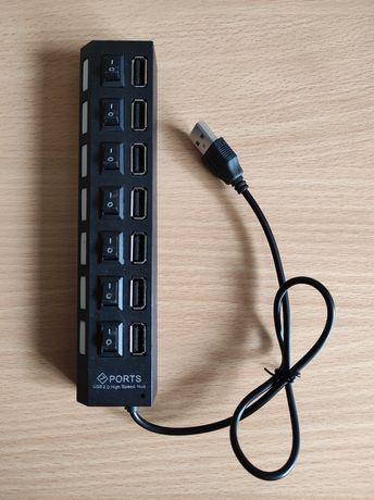 Swich cu 7 porturi USB, cu întrerupătoare și leduri
