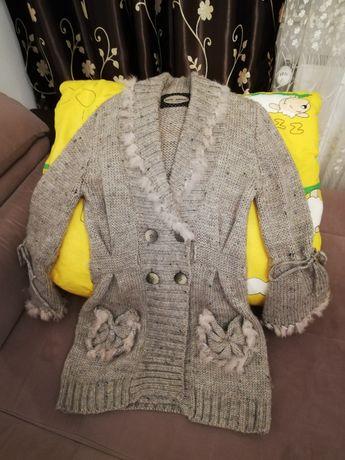 Jachetă-cardigan din lână alpaca cu blanita naturala