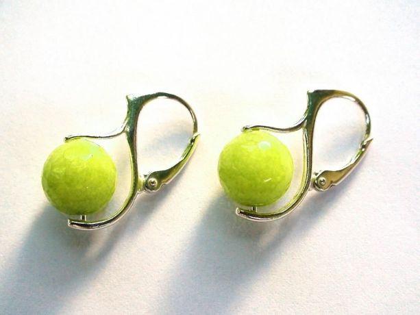 Cercei casual din Jad verde crud si argint, cercei eleganti delicati