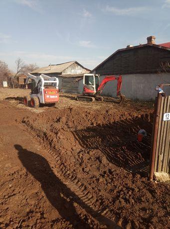 Miniexcavator si Bobcat de inchiriat pentru fundatii,fose septice