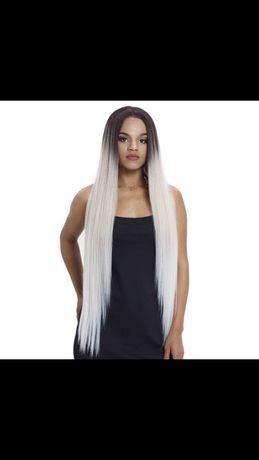 Peruca F13 Front Lace blonda blond platinat gri silver 100 cm par lung