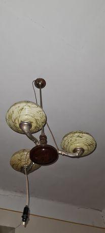 Lustra veche cu abajur sticlă confecționat manual