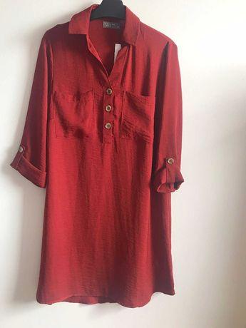 Дамска риза - рокля в керемидено-червен цвят