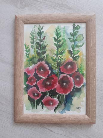 Картина акварел цветя рамкирана
