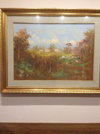 Картина от Италия,масло върху платно,подписана
