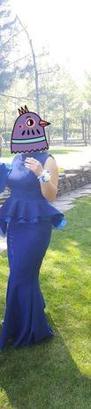 Платье женское, тёмно-синего цвета,с баской