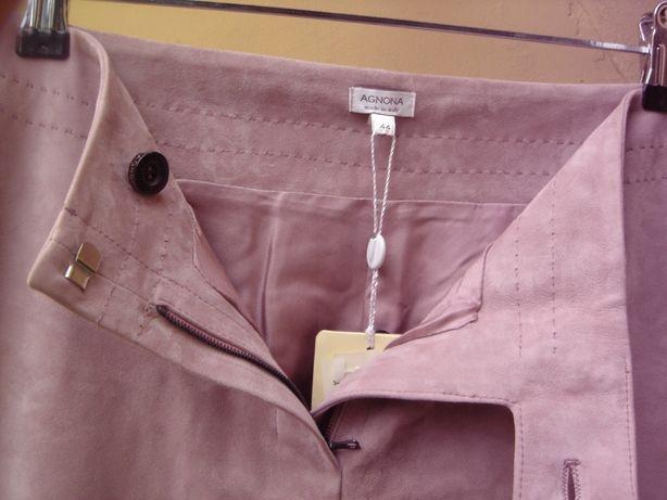 Agnona pantaloni dama femei,roz pal,piele suede,44 EU noi $2120