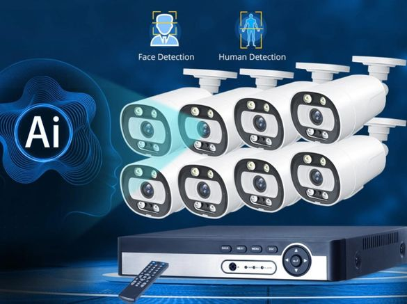 НОВО!!! IP POE камери 5MP + AI NVR