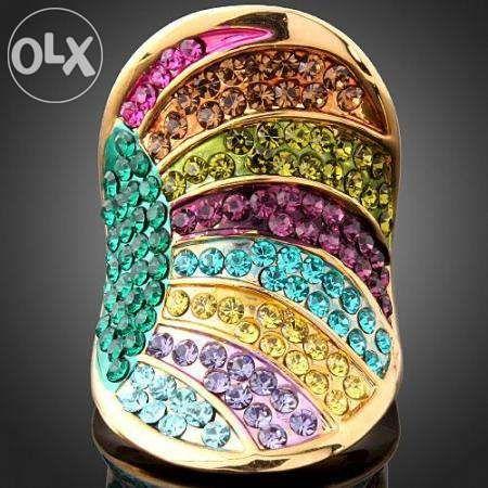Inel multicolor,18KGP, Swarovski Crystals ! -pret negociabil