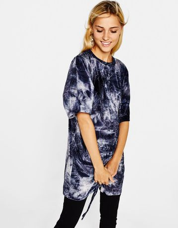 Bluza Tricou Bershka catifea elastic siret lunga lung Rochie Pulover
