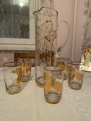 Набор для напитков. Богемское стекло СССР