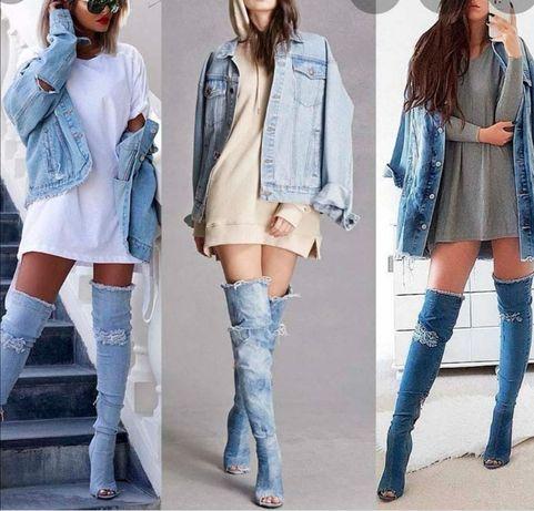 Шикарные джинсовые ботфорты