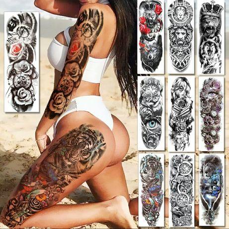 Временные татуировки, для парней и девушек. Тату рукав, рукава. Лев