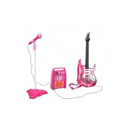 Chitara Electrica Cu Amplificator Si Microfon Pentru Copii, Roz