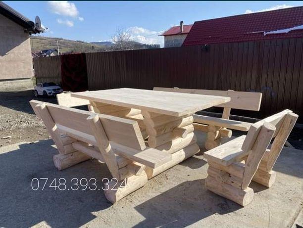 Set masa  cu  băncuțe  și scaune  lemn masiv