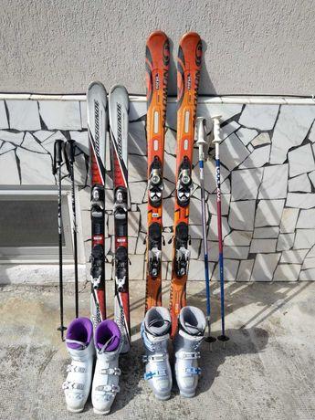 Două seturi complete Ski Rossignol  copii și Salomon damă