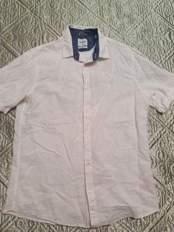 Белая мужская рубашка с короткими рукавами (Размер: L)