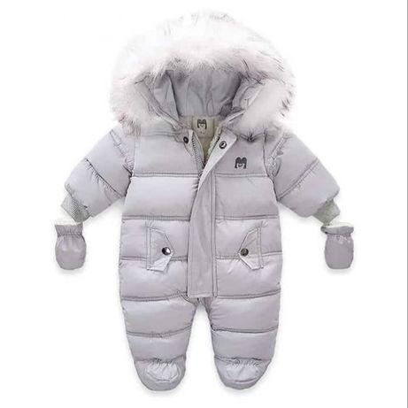 Комбинезон детский зимний с капюшоном и длинным рукавом, курта