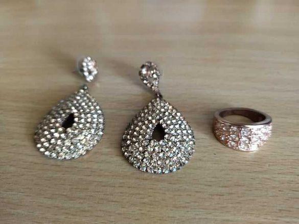 Комплект обеци с пръстен