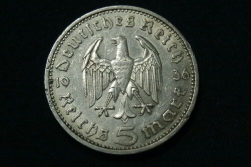 moneda argint 900/1000, 5 Reichsmark 1936 A