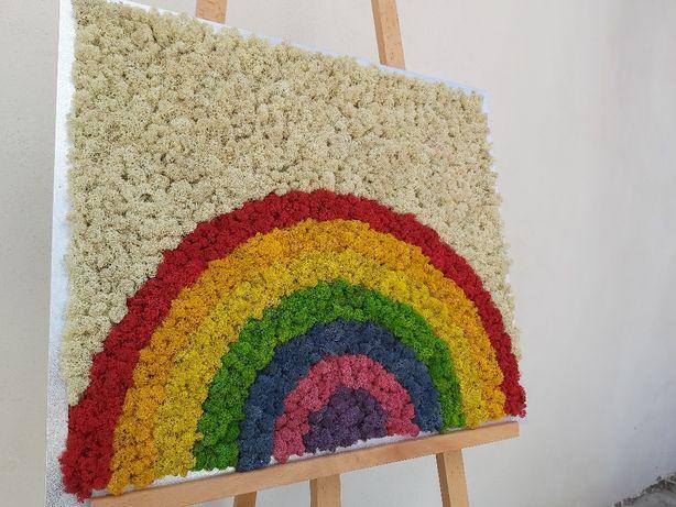 """Tablou cu licheni model""""RAINBOW"""".dimensiuni rama 60/50cm."""