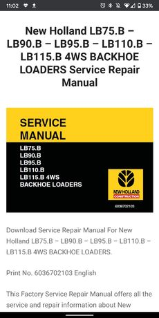 Pdf manual New Holland manual pdf LB75.B LB90.B LB95.B LB110.B LB115.B