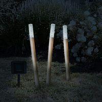 Set 6 lămpi solare LED bambus