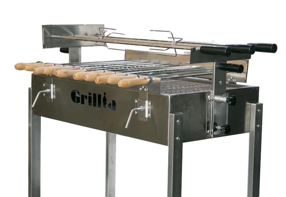Gratar carbune BBQ FULL INOX, 3 rotiserie in linie si 11 frigarui Ploiesti - imagine 1