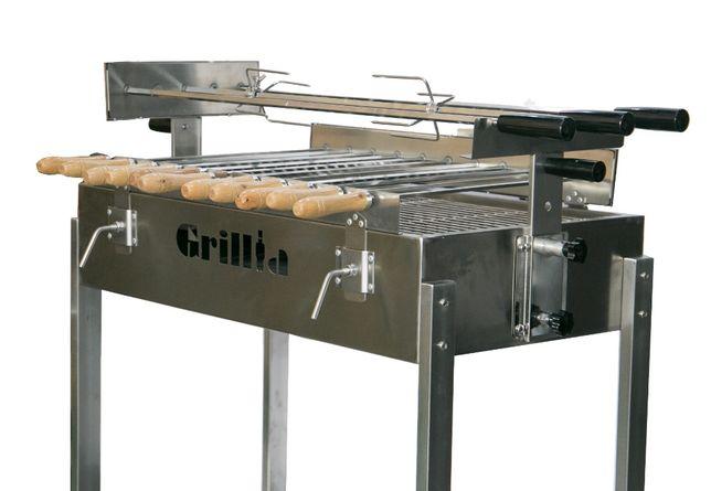 Gratar carbune BBQ FULL INOX, 3 rotiserie in linie si 11 frigarui
