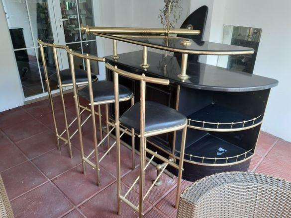 Нов!  Бар и бар столове, масивно дърво с пиано лак !ПОДАРЪК 3 стола