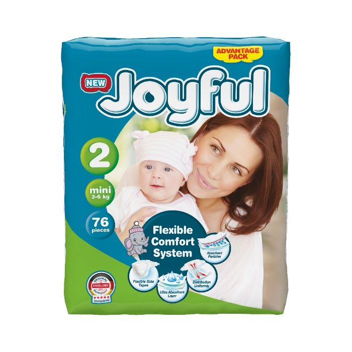 Scutece copii, Joyfull, 76 buc/set, Marime 2, Mini, 3-6 kg, 0-3luni Bucuresti - imagine 1