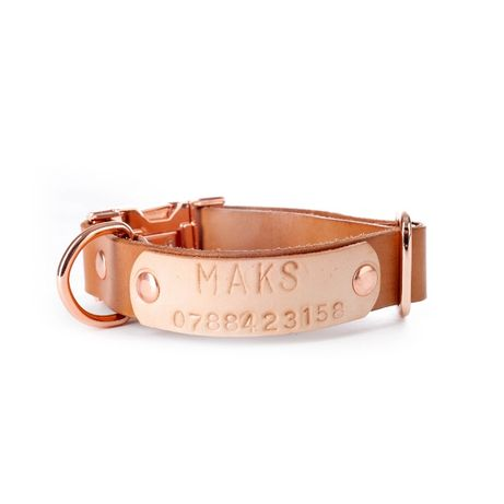 Нашийник за кучета с метална катарама (цвят розово злато)