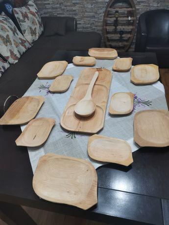 Farfurie lemn RUSTIC pentru 6 persoana