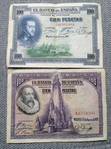Lot bancnote Spania 2x100 și 50 PESETAS