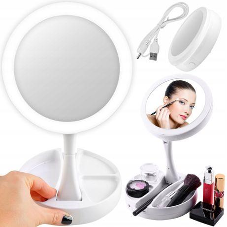 Oglindă cosmetică dublă iluminată LED cu organizator de accesorii