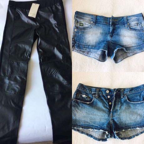 Страхотни къси дънкови панталонки,черен дълъг кожен клин