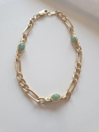 Brățară din aur de 18 ka cu jad și zirconii