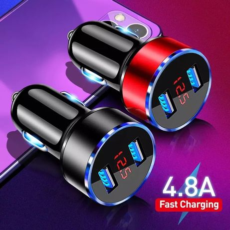 12 - USB Зарядно за кола двойно преход  4.5А 5V таблет или телефон