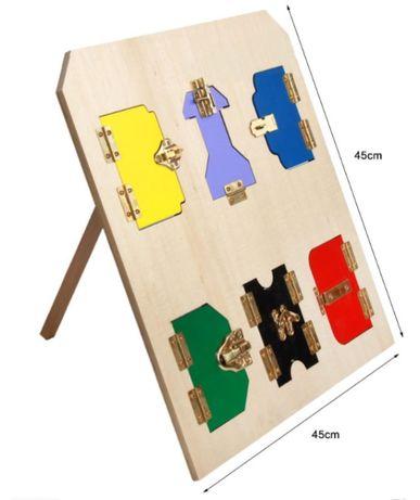 Montessori Lock Table Монтесори табло с 6 ключалки на стойка