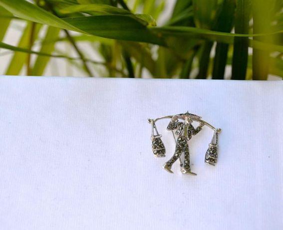Brosa argint vintage Marcasite Designer Anglia Anii 50